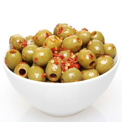 Green Pitted Olives in Hot Chilli dressing 100g