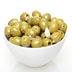 Green Pitted Olives With Fresh Garlic and Herbs 100g