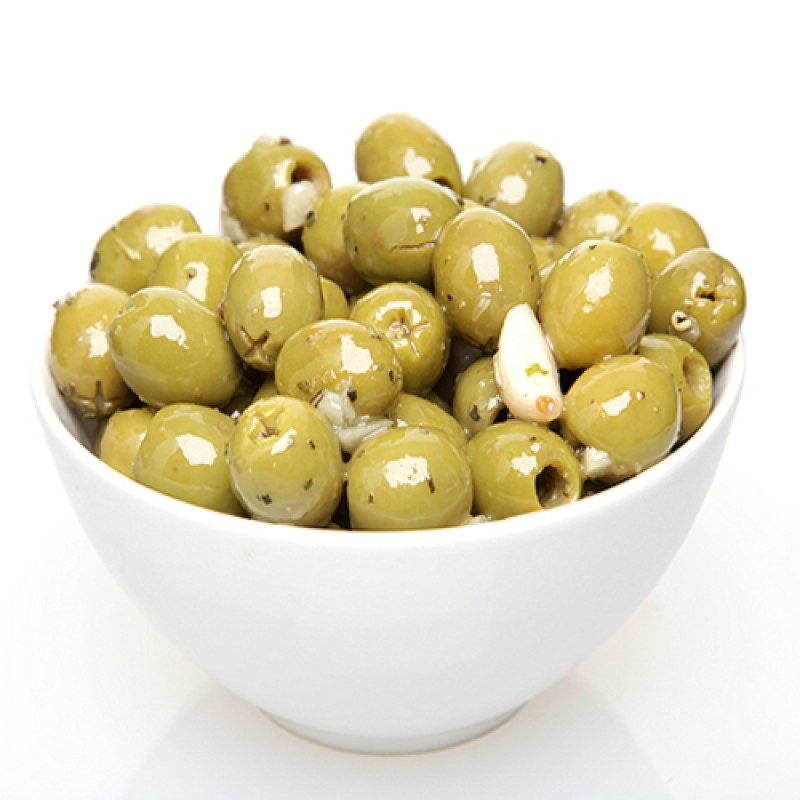 Green Pitted Olives With Fresh Garlic And Herbs